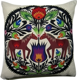 Beautiful stuffed folk design pillow. 100% polyester and made in Poland. Back side of the pillow is solid black. Zipper on one side for convenient cleaning.  The background color is a cream color (pale yellow).