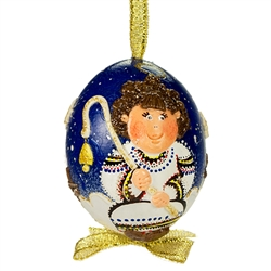 This beautifully designed chicken egg is hand painted and decorated. The figures are made from dried salt that is applied to the egg, formed, dried and finally painted. A  little work of art!