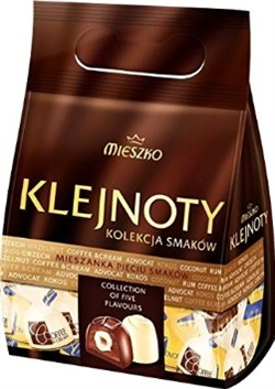 Mieszko Klejnoty, or Jewels, is a selection of assorted chocolate pralines.. The assortment includes of dark and white pralines filled with five different flavors: advocat, hazelnut, coffee with cream, rum, and coconut, all individually wrapped.