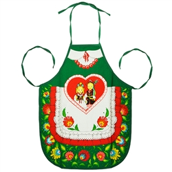 Colorful aprons featuring a pair of Krakow dancers surrounded by a Lowicz folk design. Large center pocket.  Selection of different colors. 100% cotton.