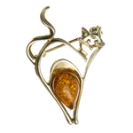 Adorable silver brooch with a Baltic Amber stone.