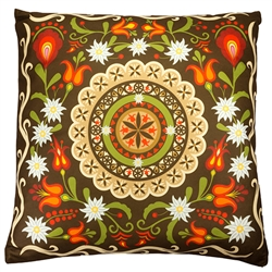 Beautiful stuffed folk design pillow. 100% polyester and made in Poland. Both sides of the pillow have a different design. Zipper on one side for convenient cleaning.