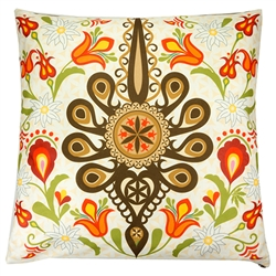 Beautiful stuffed folk design pillow. 100% polyester and made in Poland. Two different design on the front and back. Zipper on one side for convenient cleaning. The background color is a light cream color.