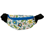 Darling fanny pack decorated with a colorful Kashub floral design. 100% polyester and plastic lined. Adjustable heavy duty woven belt. Made in Poland.