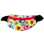 Darling fanny pack decorated with a colorful Wycinanki floral design. 100% polyester and plastic lined. Adjustable heavy duty woven belt. Made in Poland.