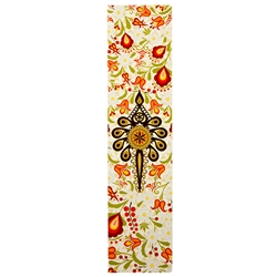 This is a beautiful Lowicz style wycinanka printed on a bookmark featuring multi-colored folk flowers and a Goral Parzenica design.