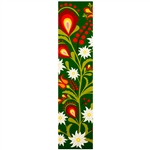 This is a beautiful Lowicz style wycinanka printed on a bookmark featuring white Edelweiss flowers with a green background.