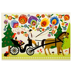"Wycinanki Folklore Print Post Card - ""Forest Ride"""