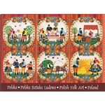 This beautiful note card features 6 Polish folk scenes. The scenes are framed in colorful paper cut flowers from the Lowicz region of Poland. The mailing envelope features flowers in both the foreground and background. Spectacular!