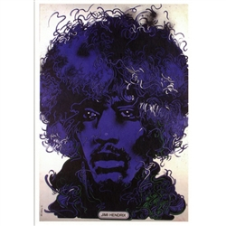 "Post Card: Jimi Hendrix, Polish Contemporary Poster  designed by Waldemar Swierzy  in 1974. It has now been turned into a post card size 4.75"" x 6.75"" - 12cm x 17cm."