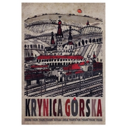 Polish poster designed in 2015 by artist Ryszard Kaja to promote tourism to Poland. Krynica Gorska is the biggest spa town in Poland often called the Pearl of Polish Spas. It has now been turned into a post card size 4.75 x 6.75