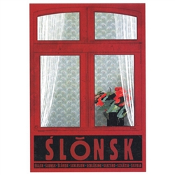 Polish poster designed in 2015 by artist Ryszard Kaja to promote tourism to Poland. Slonsk is a village in Western Poland. 