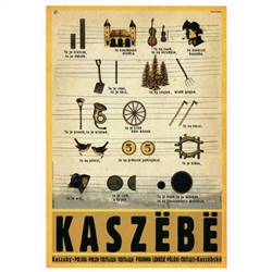 "Polish poster designed in 2015 by artist Ryszard Kaja to promote tourism to Poland. This traditional song is simple with the pictures to help learn the Kashubian alphabet. It has now been turned into a post card size 4.75"" x 6.75"" - 12cm x 17cm."