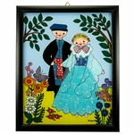 Painting on glass is a popular Polish form of folk art by which the artist paints a picture on the reverse side of a glass surface. This beautiful painting of a couple dressed in Zywiec costumes is the work of artist Ewa Skrzypiec from the town of Nowy Sa