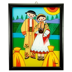 Painting on glass is a popular Polish form of folk art by which the artist paints a picture on the reverse side of a glass surface. This beautiful painting of a couple dressed in costumes from the Tatry Mountain region is the work of artist Ewa Skrzypiec