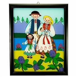 Painting on glass is a popular Polish form of folk art by which the artist paints a picture on the reverse side of a glass surface. This beautiful painting of a Polish mountaineer family is the work of artist Ewa Skrzypiec from the town of Nowy Sacz in