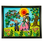 Painting on glass is a popular Polish form of folk art by which the artist paints a picture on the reverse side of a glass surface. This beautiful painting of a family from Nowy is the work of artist Ewa Skrzypiec from the town of Nowy Sacz in southeaster