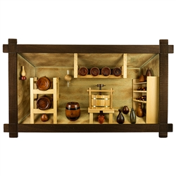 Poland has a long history of craftsmen working with wood in southern Poland. Their workshops produce beautiful hand made boxes, plates and carvings.  This shadow box is a look inside a traditional Polish doctor's office.  Note the nice attention to detail