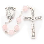 "Polish Art Center - 23"" 8mm Genuine Rose Quartz Stone Beads with Deluxe Silver Oxidized Crucifix and Center. It comes with a Deluxe Velvet Box"