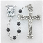 "Polish Art Center - 17"" 4mm Genuine Onyx Bead Handcrafted Rosary Handcrafted Rosary with Deluxe Silver Oxidized Crucifix and Center. It comes with a Deluxe Velvet Box. This is the perfect size for First Holy Communion!"