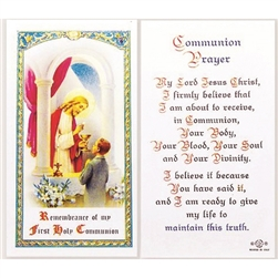 Holy Communion - Boy - Holy Card.  Plastic Coated. Picture is on the front, text is on the back of the card.