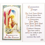 Holy Communion - Girl - Holy Card.  Plastic Coated. Picture is on the front, text is on the back of the card.