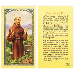 St Francis, Prayer for Pets - Holy Card.  Holy Card Plastic Coated. Picture is on the front, text is on the back of the card.