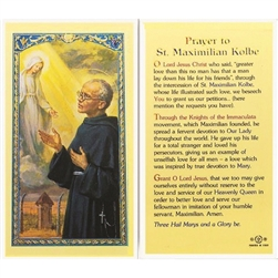 St. Maximilian Kolbe - Holy Card.  Holy Card Plastic Coated. Picture is on the front, text is on the back of the card.