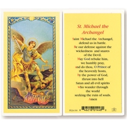 St. Michael the Archangel - Holy Card.  Holy Card Plastic Coated. Picture is on the front, text is on the back of the card.