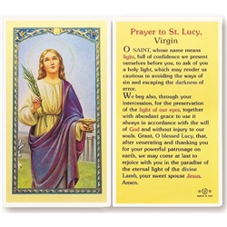 St. Lucy - Holy Card.  Holy Card Plastic Coated. Picture is on the front, text is on the back of the card.