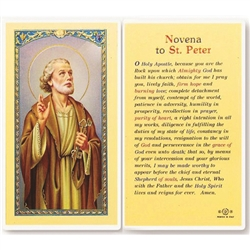 St. Peter - Holy Card.  Holy Card Plastic Coated. Picture is on the front, text is on the back of the card.