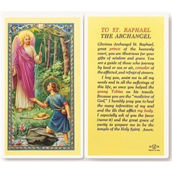 St. Raphael the Archangel - Holy Card.  Holy Card Plastic Coated. Picture is on the front, text is on the back of the card.