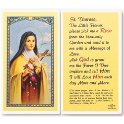 St. Therese -  Holy Card.  Holy Card Plastic Coated. Picture is on the front, text is on the back of the card.