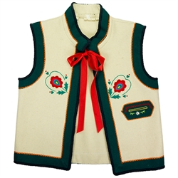 Polish Mountaineer Children's hand embroidered sleeveless jacket.  (Polish size 134 = US Child's size 9).  Only 2 available.