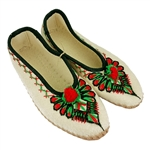 These hand embroidered Polish highland slippers are made from felted wool  and stitched with soft leather soles. The pattern is the parzenica a traditional Highlander design. They are very comfortable, and lightweight. Intended primarily as for indoor use