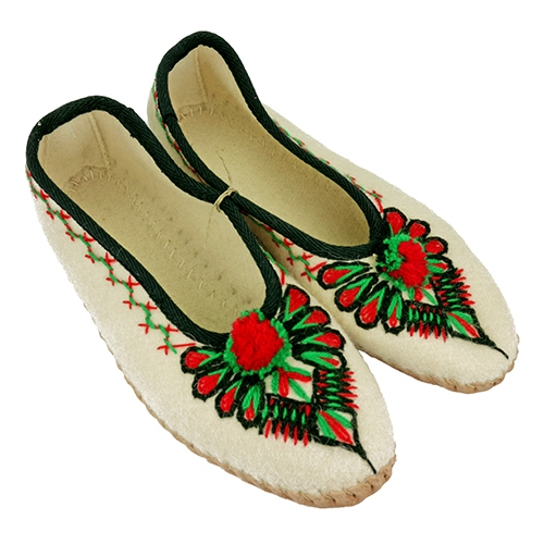 39c0cde098f These hand embroidered Polish highland slippers are made from felted wool  and stitched with soft leather