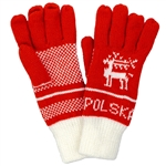 Colorful pair of ladies' gloves with Polska at the wrists. 100% double knit acrylic.