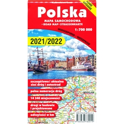 Large color folding automobile road map of Poland. Includes city center maps of 20 major Polish cities and an alphabetic index of all towns on the reverse side. Printed in 2016
