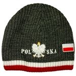 Display your Polish heritage! grey stretch ribbed-knit skull cap, which features Poland's national symbol the crowned eagle. Easy care acrylic fabric. One size fits most. Imported from Poland.