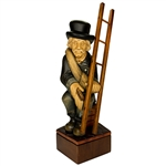 Nicely detailed, hand carved chimney sweep holding his ladder and brush.  Ladder is attached.