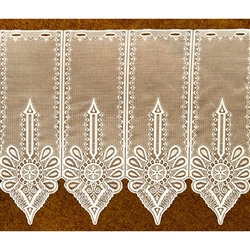 "These beautiful curtains feature the Polish mountain design ""Parzenica"".  These curtains are sold by the panel.  Each panel is 6.5"" - 16.5cm wide.  Two lengths will be available.  Select the number of panels and the available length.   We cut to order."