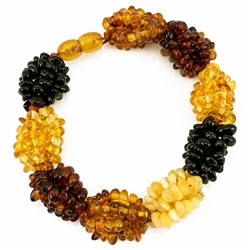 Natural amber stones with a hidden screw clasp.