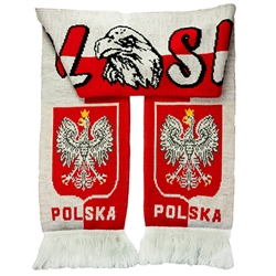 Display your Polish heritage! Polska scarves are worn in Poland at all major sporting events. Features Poland's national symbol the crowned white eagle.