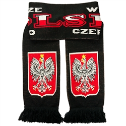"Display your Polish heritage!  Polska scarves are worn in Poland at all major sporting events.  Features Poland's national symbol the crowned white eagle bordered by the phrase  ""Zawsze Wierni"" - ""Always Faithful"" and ""Bialo Czerwonym"" - ""White and Red""."