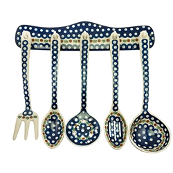 Collectors of Polish stoneware from Poland's premier company, Ceramika Artystyczna, will enjoy this unique set. Includes wall mounted rack (2 holes for mounting) and utensils as pictured. Note one spoon is slotted and one ladle strainer (with holes)