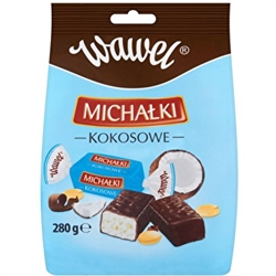 New from Wawel, Krakow's premier chocolatier.  A delicious composition of sweet coconut flakes and crisply peanuts dipped in dark desert chocolate. Individually wrapped.  280g/9.88 oz bag.