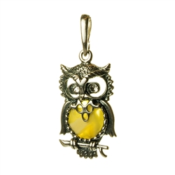 Hand made with Sterling Silver detail. Our silver owl has cubic zirconia crystal eyes too!
