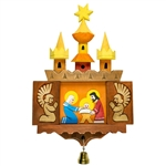 Hand carved and painted by folk artist Marian Pazucha from Nowy Sacz. The beautiful creche is designed to hang on the wall. Front doors open to reveal angels adoring the Holy Family. Very nice detail.Ready to hang.