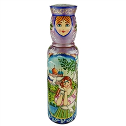 "Beautifully hand-painted Matrushka vodka bottle holder.  Made In Russia.  Fits a slender half liter bottle (2.75"" - 7cm dia)"