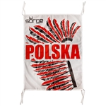 "The flag with the inscription ""POLSKA"" is a great way to display your Polish heritage. Superimposed over the historic symbol of the elite Polish heavy cavalry, the Husars. Unique design and high quality."